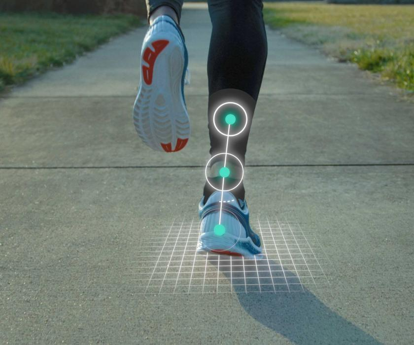 Running feet with visible alignment
